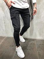 мужские модные джинсы с накладными карманами