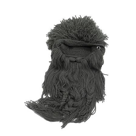 Зимняя шапка викинга с дредами и длинной бородой, фото 2