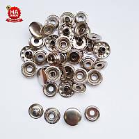 Кнопка для одягу 15мм Кільцева. Кнопка київська №61, Срібло (720шт)