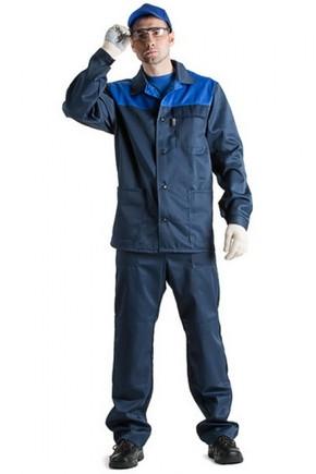 Костюм рабочий тк. грета синий с полукомбинезоном и кепкой
