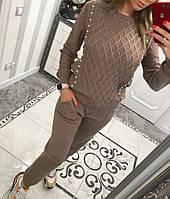 Красивый вязаный костюм декорирован жемчугом, фото 1