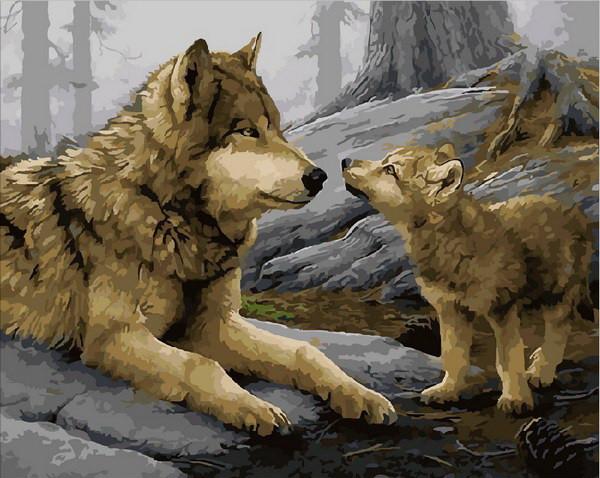 Картина по номерам Волчонок 40 х 50 см (MR-Q1925)