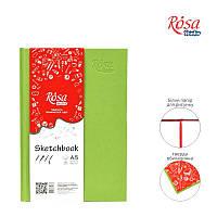 БлокнотА5 (14,8*21 см) Белая бумага100г/м 96л ROSA StudioФисташковая обложка 16R5018