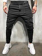 мужские модные джинсы с накладными карманами, черные , фото 1
