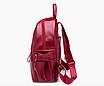 Рюкзак женский кожзам городской Casual красный, фото 7
