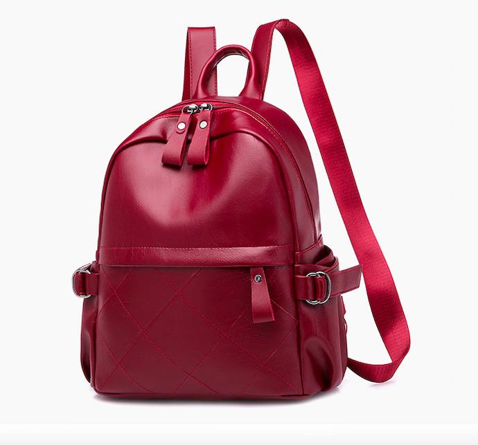 Рюкзак женский кожзам городской Casual красный