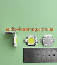 Светодиод мощный 12V 10Wt (Световой поток - 600 Lm), цвет - белый холодный (6000К)