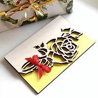 Открытка с деревянной обложкой Троянда, резная