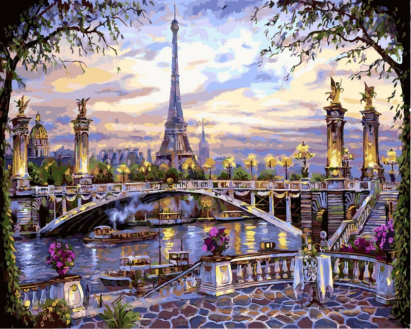 Картина по номерам Воспоминания о Париже 40 х 50 см (NB397)