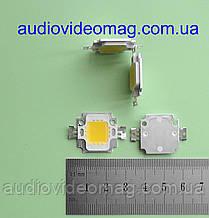 Светодиод мощный 12V 10Wt (Световой поток - 600 Lm), цвет - белый тёплый (3200К)
