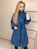 Женское модное пальто на больших пуговицах и поясе