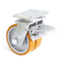 Сдвоеное большегрузное колесо из полиуритана с тормозом 4604-DSTR-160-B