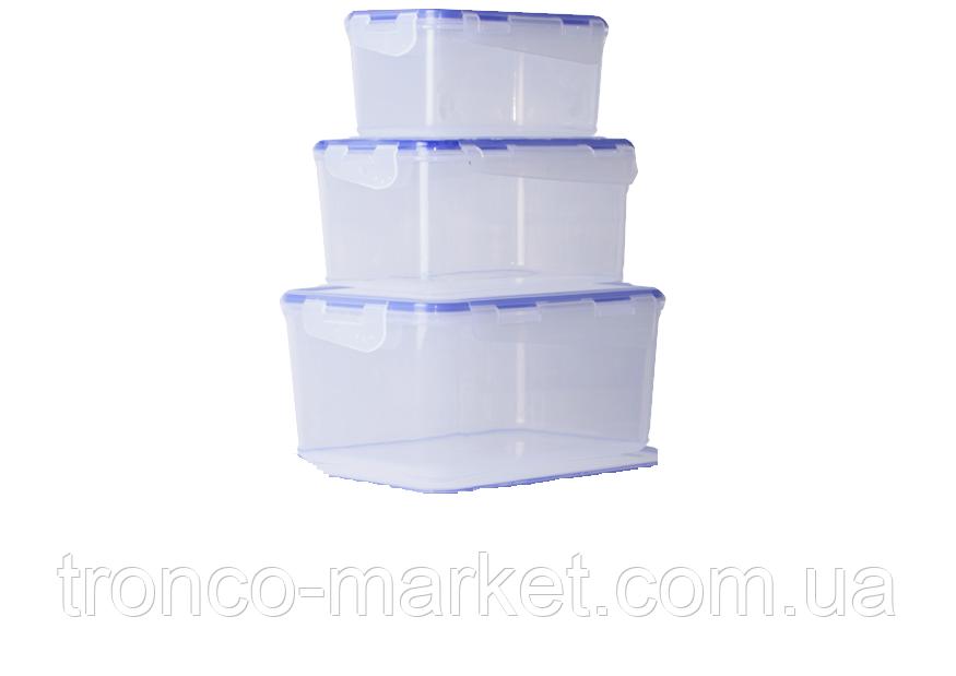 """Набор контейнеров для пищевых продуктов с зажимом прямоугольных """"3 в 1"""""""
