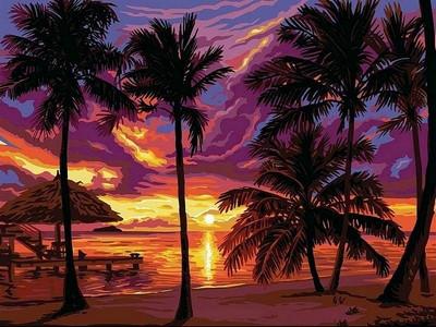 Картина по номерам Закат в тропиках 30 х 40 см (VK044)