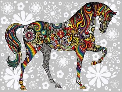 Картина по номерам Цветочный конь 30 х 40 см (VK157)
