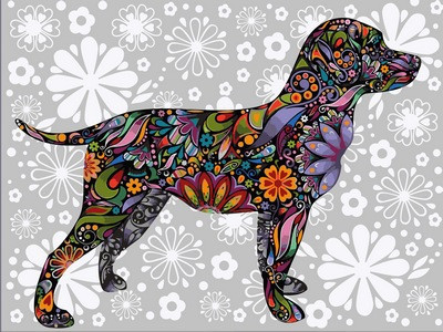 Картина по номерам Цветочный пес 30 х 40 см (VK168)