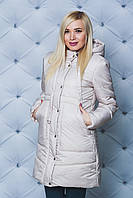 Пальто зимнее  с капюшоном бежевое