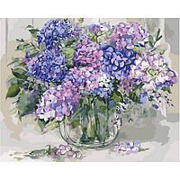 """Картина по номерам """"цветы Гортензия""""  (40х50 см)"""