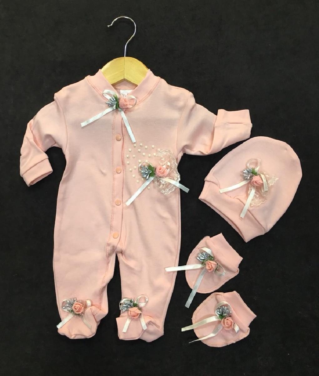 """Шикарный нарядный набор для новорожденной девочки на выписку """"Розочки""""  Турция"""
