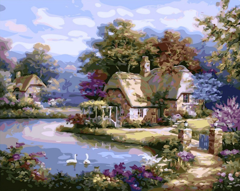 Картина по номерам Дом с лебедями 40 х 50 см (VP228)
