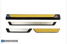 Накладки на пороги Flexill (4 шт) Hyundai Sonata LF 2014+ гг.
