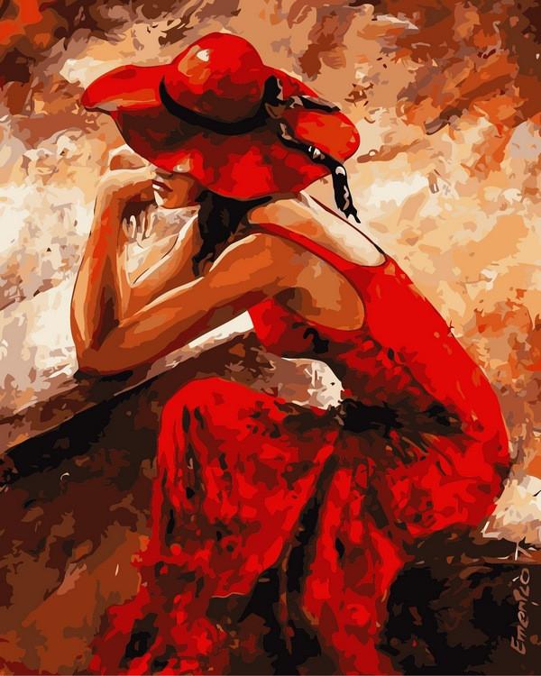 Картина по номерам Женщина в красном 40 х 50 см (VP312)