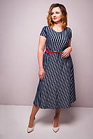 Летнее женское платье полосатое Гала. Размеры 50-54