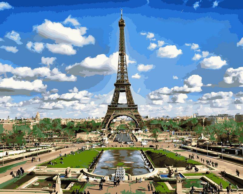 Картина по номерам Эйфелева башня весной 40 х 50 см (VP515)
