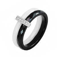Кольцо из серебра, черной и белой керамики Бостон с фианитами 19 000070068