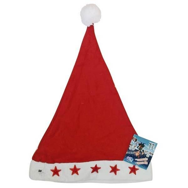 Шапка Санта Клауса з зірочками, на маленьких батарейках