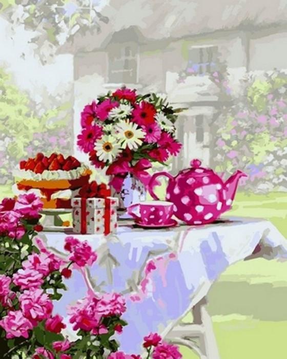 Картина по номерам Чаепитие в саду 40 х 50 см (VP801)