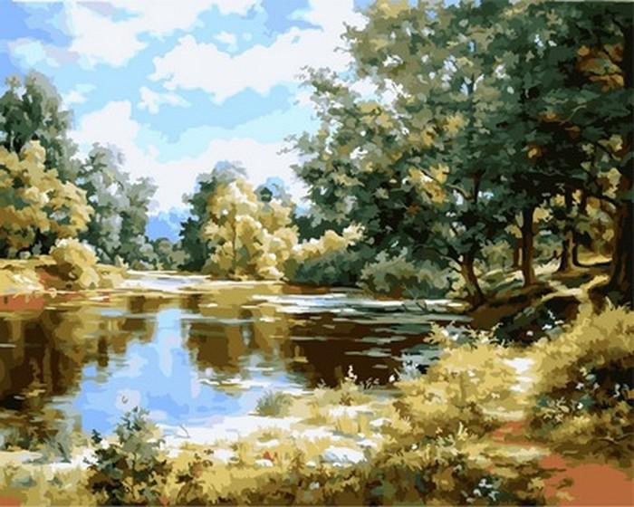 Картина по номерам На берегу пруда 40 х 50 см (VP849)