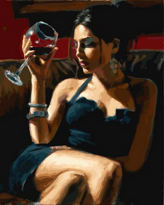 Картина по номерам Девушка с бокалом Мерло 40 х 50 см (VP892)