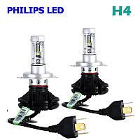 Комплект LED ламп AllLight X3 H4 50W 6000K 6000lm с радиатором и светофильтрами (3000K/8000K)