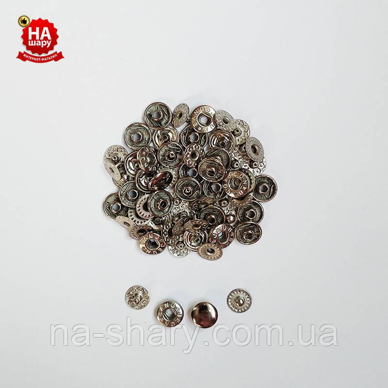 Кнопки для одежды Альфа 10мм. Кнопки для кошельков. VT-2, Никель (1440шт)