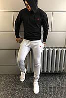 Костюм спортивный мужской Reebok, хлопоковый трикотаж, полиэстер код товара OS-0152. Черный с серым