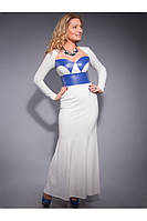 Платье женское из плотного белого трикотажа, в комбинации с искусственной кожей.