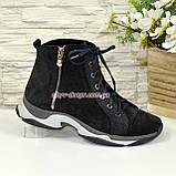 Женские демисезонные ботинки на шнуровке, натуральная замша с лазерным напылением, фото 2