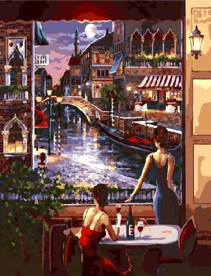Картина по номерам Вид на ночную Венецию 40 х 50 см (BK-GX3459)