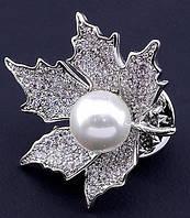 Серебристый листик с  жемчужиной от студии LadyStyle.Biz, фото 1