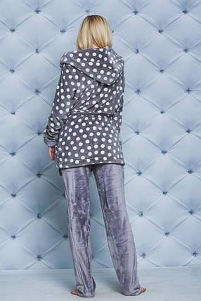 Женская плюшевая пижама горох, фото 2
