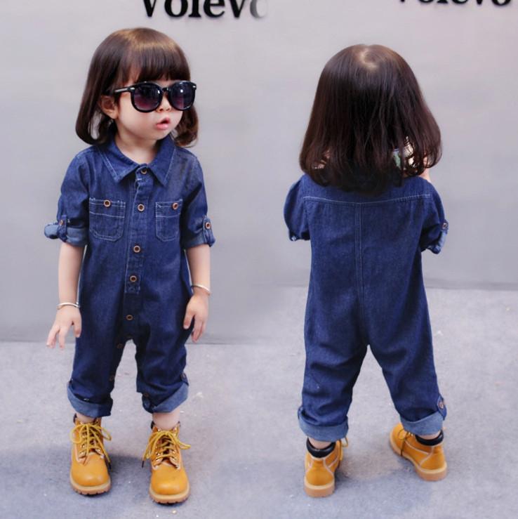 Комбинезон детский джинсовый  на девочку синий на пуговицах