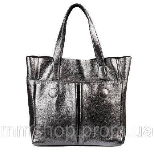 Сумка женская кожаная с карманами серебро, фото 1