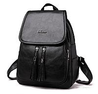 Рюкзак женский кожзам Balina c кисточками черный