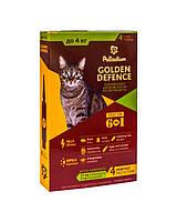 Капли на холку от блох и клещей и гельминтов Palladium Golden Defence для кошек до 4кг * Палладиум