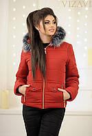 Женский зимний костюм с капюшоном Аляска на синтепоне и меху норма, красный с черным