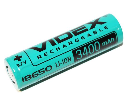 Аккумулятор 18650, 3400 mAh, Videx, 1 шт, Li-ion, перезаряжаемая батарейка, фото 2
