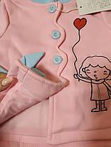 Пальто на девочку демисезонное розовое весна-осень 1-4 года  , фото 2