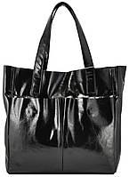 Сумка женская кожаная с карманами лак чёрная, фото 1