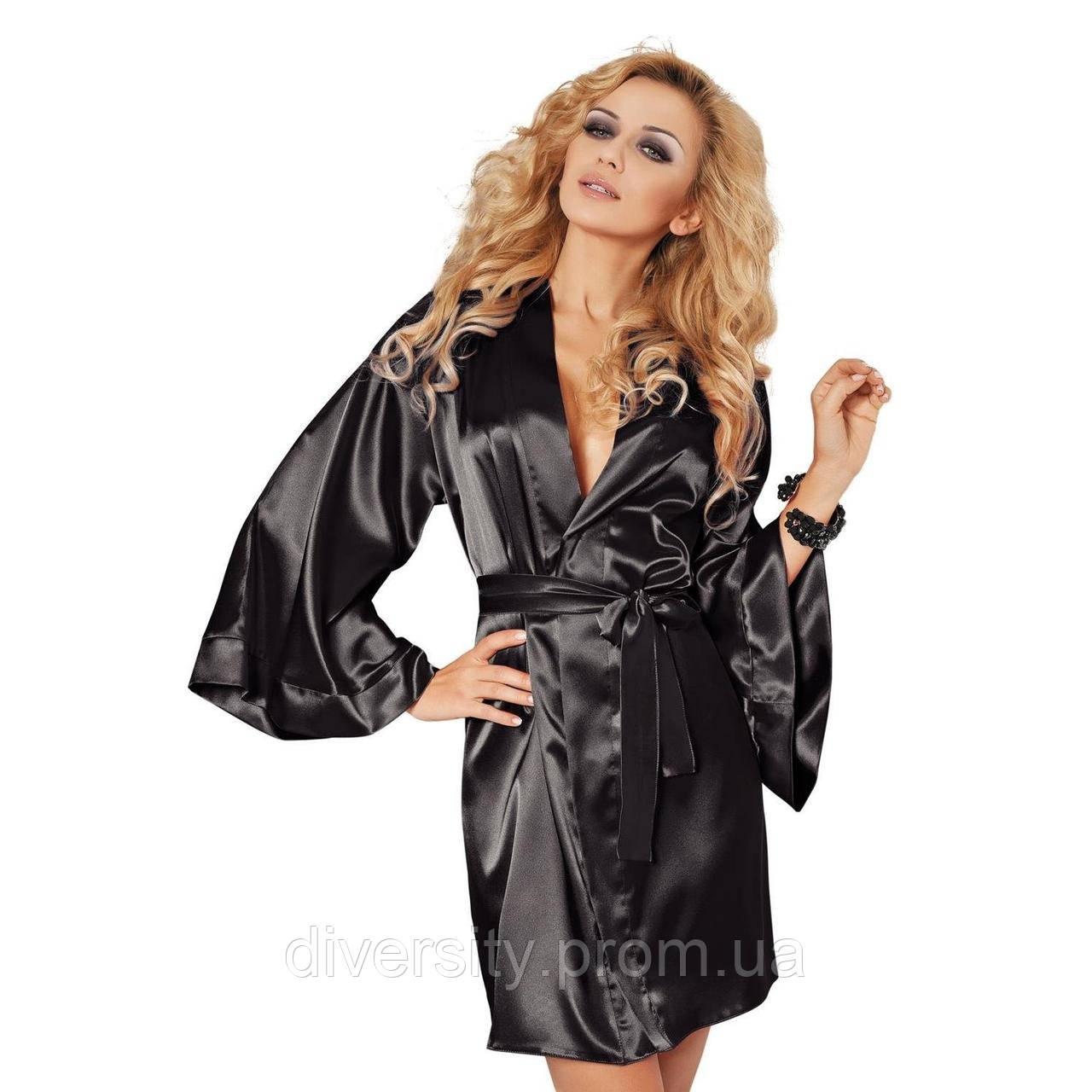 Стильный сатиновый халат Candy DKaren ,XL, черный